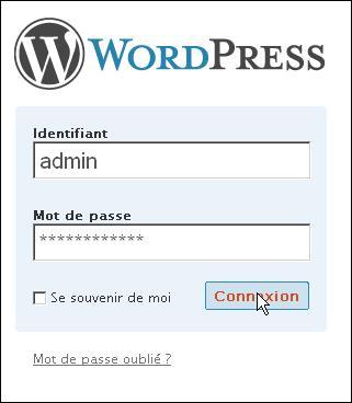 connexion admin wp