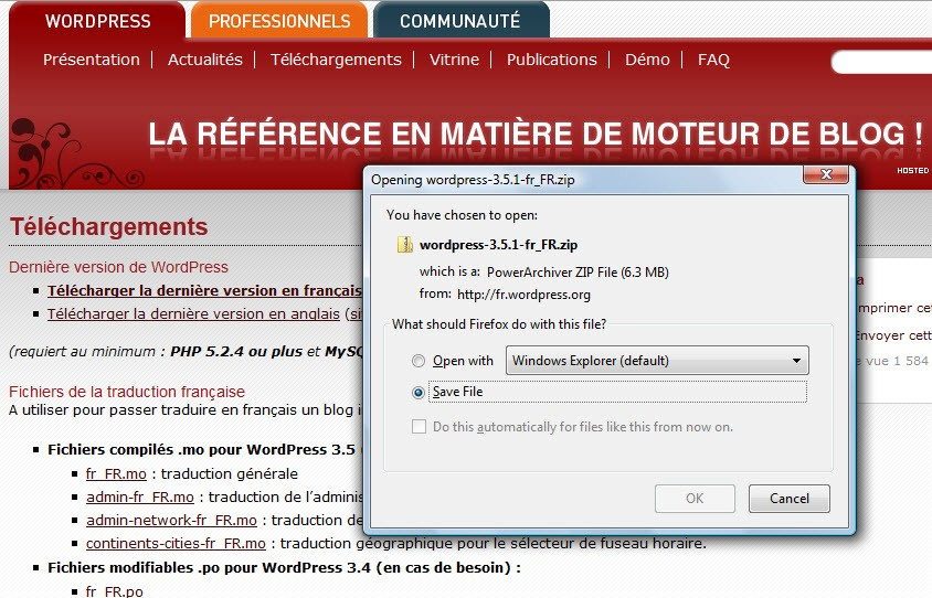 installation wordpress manuellement